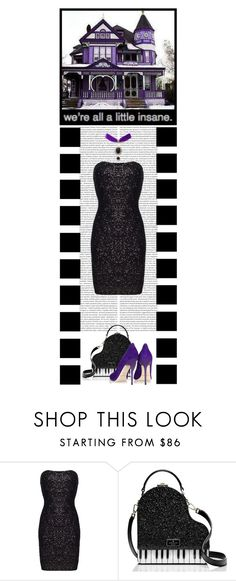 """A little Insane - The Black Cat Jewellery Store (50)"" by irresistible-livingdeadgirl ❤ liked on Polyvore featuring AFTERSHOCK, Kate Spade, Jimmy Choo, purple, LBD, katespade, jimmychoo, glitter, LittleBlackDress and goth"
