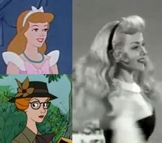 Helene Stanley is the actress who modeled for Cinderella, Aurora in Sleeping Beauty and the wife in 101 Dalmations(for which she was the voice). She also acted in Snows of Kilimanjaro with Gregory Peck. - She looks like Aurora! Retro Disney, Old Disney, Vintage Disney, Disney Girls, Disney Love, Disney Stuff, Disney And Dreamworks, Disney Pixar, Disney Characters