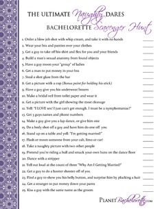 Bachelorette Party Ideas... some of these are too extreme and I would never do them, but some of them are fun.