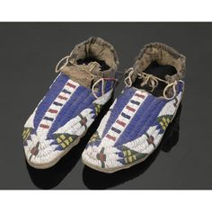 Sioux Beaded and Quilled Hide Moccasins,