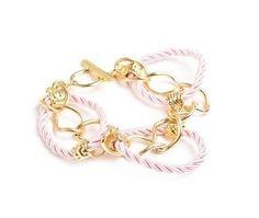 Pulseira Dourada com Cordão Rosa - ref.: 11853 R$42.00