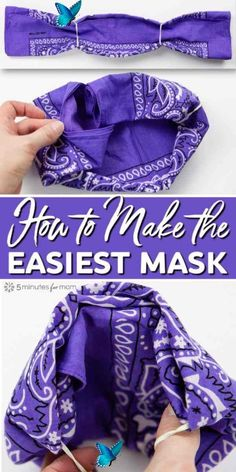 55 How to make a bandana mask. It takes less than a minute to make a no-sew cloth face mask with two elastic bands and a bandana, or any piece of cotton fabric such as a large square cut out of an old shirt. #diy #doityourself #diy #doityourself<br> Easy Face Masks, Homemade Face Masks, Diy Face Mask, How To Tie Bandana, Old Shirts, Tube Socks, Diy Mask, Mask Making, Hair Ties