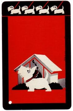 """scotty dog - """"Trading Card"""" 1950's. I had 100's... I think they were Salesmen's Samples (blanks) for """"Playing Card Games"""" like Canasta. The cards would come in a series of 4 colors. Very Popular Back in the Day..."""