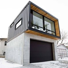 Minus twenty outside and highly efficient electric heating system keeps it toasty warm inside. The HO2 over a concrete garage in #yeg. #wintercity #insulation #efficiency #containers #tinyhouse #construction #beautiful #modular #modern #architecture #design #scale #shippingcontainer #shippingcontainerhomes #laneway #modernprefab #containerhome