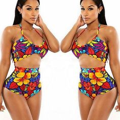 Floral High Waist Bikini Set Push-Up Bra Swimsuit Beachwear Swimwear