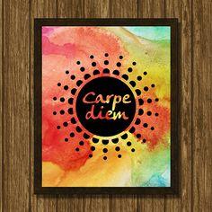 Carpe diem, watercolor background, digital artwork, Printable poster, Wall art decor