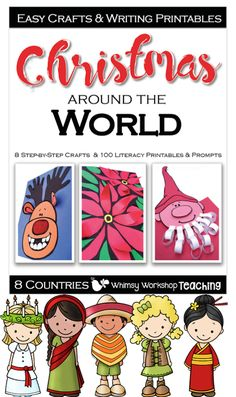 Christmas Around the World has step by step photos for Christmas crafts and 12 writing printables for each country celebrations. (Free sample pages in preview)