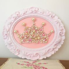 """Shabby chic princess crown wall art.Mosaic.Pastel by berryisland, $95.00 Would love to make something like this... 13""""x11"""""""