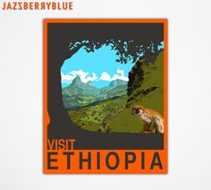 Visit Ethiopia  8x10 Archival Print by JazzberryBlue on Etsy, $18.00