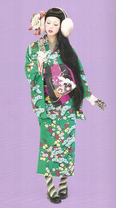 "thekimonogallery: ""Kimono-hime issue Fashion shoot page Via Satomi Grim . Traditioneller Kimono, Kimono Japan, Japanese Kimono, Japanese Costume, Japanese Textiles, Traditional Kimono, Traditional Fashion, Traditional Dresses, Geisha"