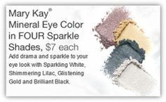 New Mineral Eye Colors in Four Sparkle Shades.  Great for those holiday parties!  Like my page on Facebook! Jen Knepp Mary Kay Independent Beauty Consultant