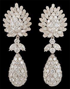 DAVID WEBB Platinum Diamond Earrings