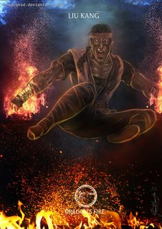 Mortal Kombat X-Liu Kang Dragon Fire Variation by Grapiqkad