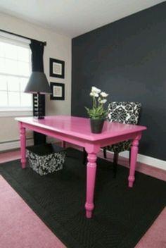 Office desk. Love the pink!  (maybe turn it orange....!)