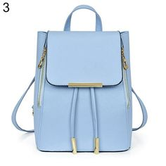7e08637b44d Zicac Fashion PU Leather Backpack Knapsack School Drawstring Shoulder Bag  Light Blue     Check this awesome product by going to the link at the image.
