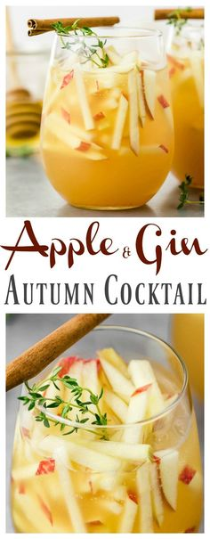 Apple & Gin Autumn Cocktail [with recipe video] Holiday Drinks - Christmas Drinks - Christmas Cocktails - Festive Drinks Cocktail Gin, Best Gin Cocktails, Gin Cocktail Recipes, Cocktails For Parties, Fruity Cocktails, Fall Cocktails, Fall Drinks, Wine Cocktails, Holiday Drinks