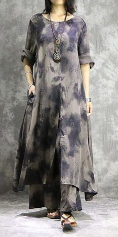 Vintage Print Loose Spring Suit Women Gray Two Piece Casual Top With Wide-leg Pa… - New Dress