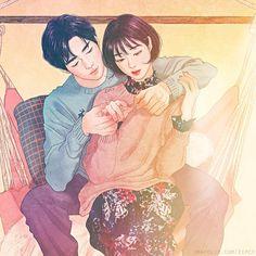 Romantic illustrations by Korean artist Zipcy 집시 Shared by Veri Apriyatno Artist . Couple Drawings, Love Drawings, Art Drawings, Drawing Art, Art And Illustration, Character Illustration, Art Love Couple, Love Art, Wallpapers Amor