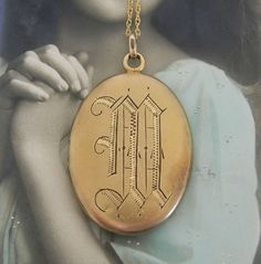 Antique Victorian Monogrammed M Locket Necklace by LuvLockets