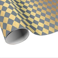 Blue Gray Gold Geometry Chessboard Diamond Cut Wrapping Paper - anniversary cyo diy gift idea presents party celebration