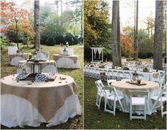 Ideen für Hochzeitsdeko -landhausstil-aussen-runde-tische-jutestoff-weisse-stuehle-lichterketten