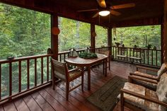 River Glorious in Ellijay: Screened-in porch area overlooking the mountains  Blue Sky Cabin Rentals