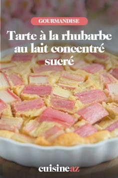Pour préparer cette recette de tarte à la rhubarbe au lait concentré sucré, il ne faut que 3 ingrédients. #recette#cuisine#tarte#rhubarbe #laitconcentre #patisserie Breakfast, Condensed Milk, Sugar, Food Porn, Morning Coffee