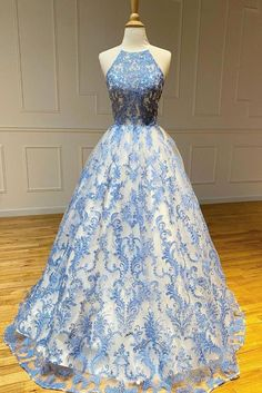 2020 Blue high neck tulle lace long prom dress blue lace evening dress Dress code: 0106 Material: tulle,lace Size: US US US US US US US US 2 Shoulder to US 4 Shoulder to US 6 Pretty Prom Dresses, Grad Dresses, Prom Dresses Blue, Dresses For Teens, Beautiful Dresses, Casual Dresses, Dress Prom, Elegant Dresses, Sleeved Prom Dress