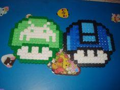 Mario mushrooms perler beads by Lesleyanne Wallace