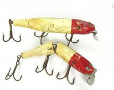 Vintage fishing lure, fishing tackle,wooden lure,creek chub pikie,red lure, sports,man cave,collectible, fisherman,