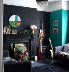 we wanted to do black in our bathroom and chickened out but with another bright color- maybe one day :)
