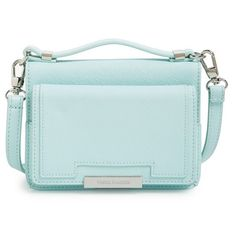 Vince Camuto 'Small Mila' Crossbody Bag ($98) ❤ liked on Polyvore featuring bags, handbags, shoulder bags, arctic blue, blue crossbody purse, blue crossbody, vince camuto handbags, color block handbag and blue cross body purse