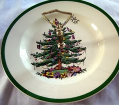 England's Spode Christmas Tree China Tidbit Snack Plate with Handle | autumnsantiquevilla - Collectibles on ArtFire