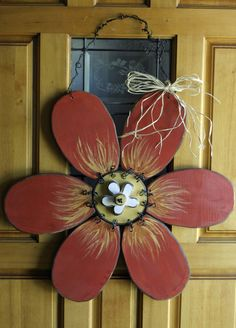 Large Red Flower door hanger