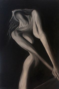 In the shadows - black and white oil painting, naked woman, figurative, striking, modern