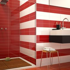 Red Tiles For Bathroom Interior Design Bathroom Red, Bathroom Floor Tiles, Bathroom Colors, Bathrooms, Shower Tiles, Shower Floor, Bathroom Wall, Wall Tiles, Red Tiles