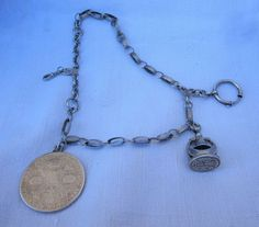 Antique Victorian Sterling Silver Swiss Watch Fob Chatelain Coin Letter Seal