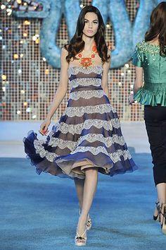 Christian Dior | Resort 2009 Collection | Danijela Dimitrovska Modeling | Style.com lace navy horizontal stripes full skirt