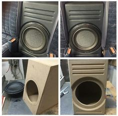 subwoofer box between the seats in a pickup
