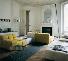 Living Room: Yellow White Sectional Sofa Furniture And White Fireplace Plus Standing Lamp: Modern Sofa Design Sets for Living Room Furniture Patricia Urquiola, Living Divani, Living Room, Canapé Design, Interior Design, Time Design, Salon Design, Modern Interior, Design Ideas