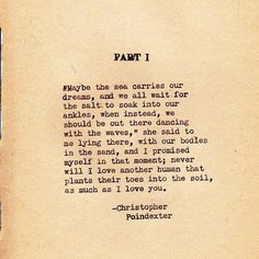 dreams, love, poetry, romantic, sand, water, waves, christopher poindexter