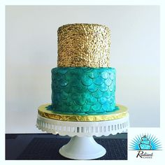 Mermaid Cake! Gold Sequins with Mermaid Scales. All Fondant. @radiantcakes…
