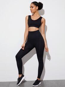 Top Selling Leggings From SHEIN Leggings Sale, Sports Leggings, Workout Leggings, Fashion Updates, Lingerie Sleepwear, Spandex Material, Black Pattern, Thighs, Scoop Neck