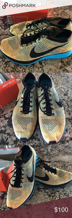 Nike flyknit racer men's shoes size 11.5 Nike flyknit sneakers men's size 11.5. My son wore them twice and outgrew them. I am selling them for him so he is controlling the offers. He is 15 and needs $. They are in excellent condition. Turquoise sole and yellow orange turquoise color. Nike Shoes Sneakers