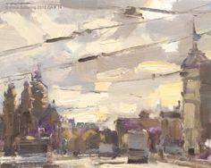 Cityscape Amsterdam #14 Prins Hendrikkade II - Stadsgezicht, painting by artist Roos Schuring
