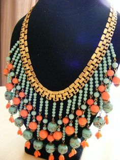MIRIAM HASKELL VINTAGE SIGNED EGYPTIAN REVIVAL BIB NECKLACE $ 495