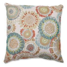 Bring instant color and comfort into your living space with this decorative multicolored floral throw pillow from Pillow Perfect.