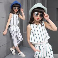 Girls clothing sets 2019 summer fashion striped vest T-shirt pants two pieces kids tracksuit children clothing set kids clothes. Little Girl Fashion, Fashion Kids, Fashion Outfits, Suit Fashion, Cheap Fashion, Dresses Kids Girl, Kids Outfits, Cheap Kids Clothes, Toddler Girl Outfits