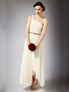Eine Schulter griechische Göttin Maxi Länge Hochzeitskleid mit Faltenrock