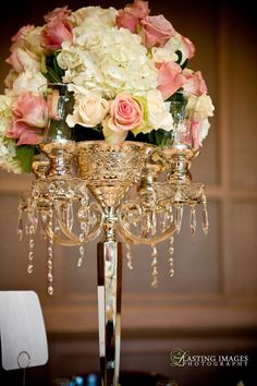 Brass candelabra with ivory & pink roses and white hydrangea | Lasting Images Photography | villasiena.cc